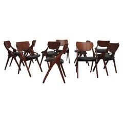 Rare Set of Ten Arne Hovmand Olsen Dining Chairs for Mogens Kold