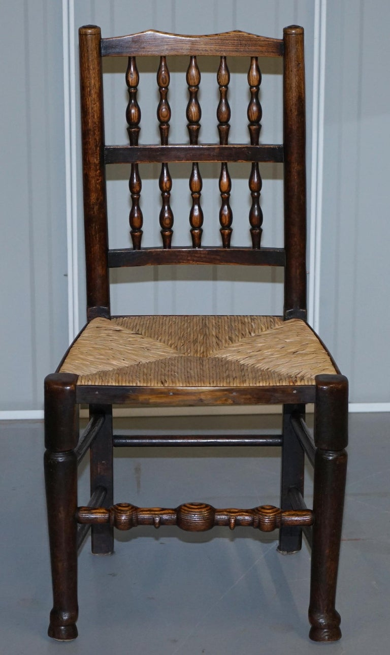 4 Available Lancashire Oak /& Rush Seat Spindle Back Country Carver Armchair
