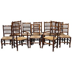 Rare Set of Ten circa 1780 Lancashire Elm Spindle Back Rush Seat Dining Chairs