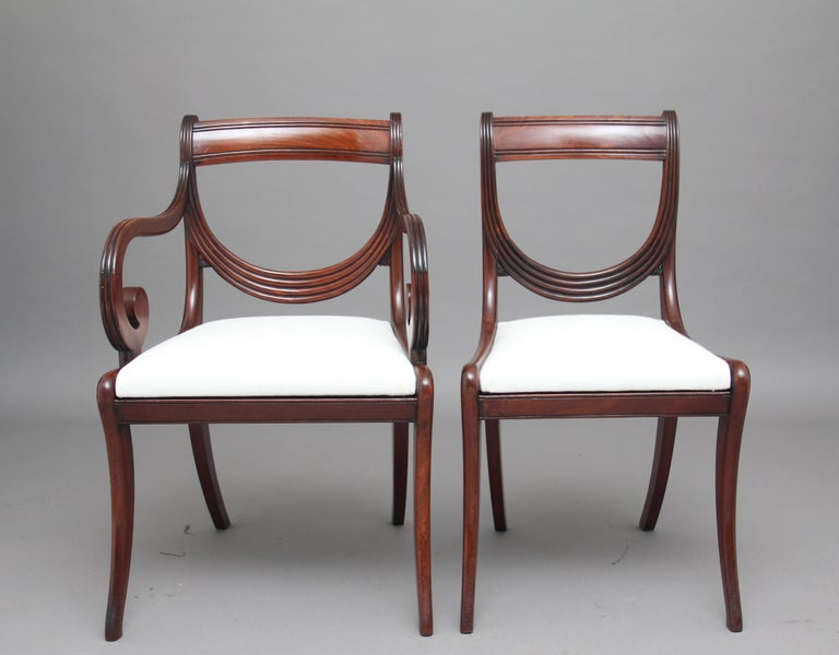 English Rare Set of Ten Early 19th Century Mahogany Dining Chairs For Sale