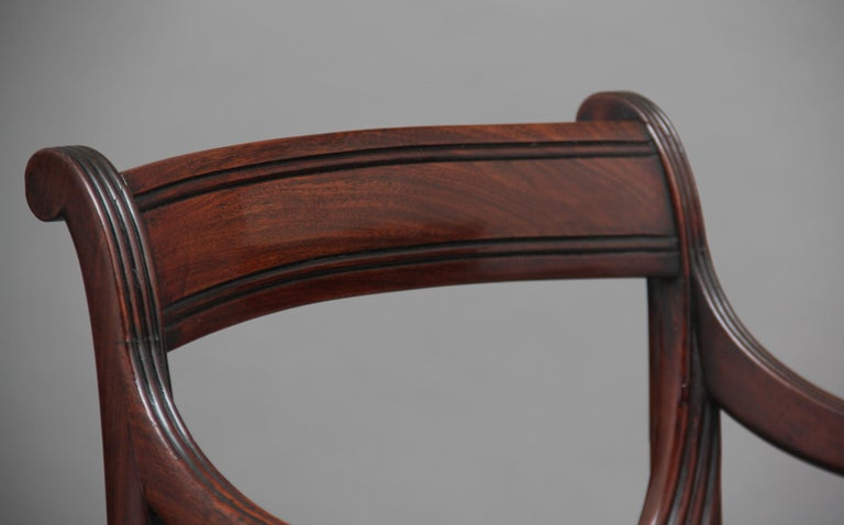 Rare Set of Ten Early 19th Century Mahogany Dining Chairs For Sale 4