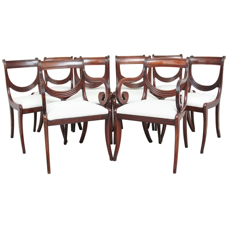Rare Set of Ten Early 19th Century Mahogany Dining Chairs For Sale