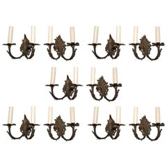 Rare Set of Ten French 1940 Brass Sconces