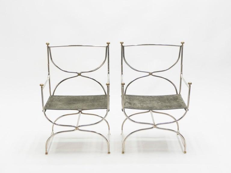 Rare Set of Ten Midcentury Steel Brass Leather Chairs Maison Jansen, 1960s For Sale 4