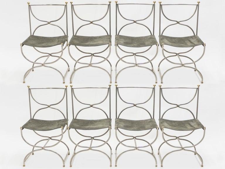 Rare Set of Ten Midcentury Steel Brass Leather Chairs Maison Jansen, 1960s For Sale 6