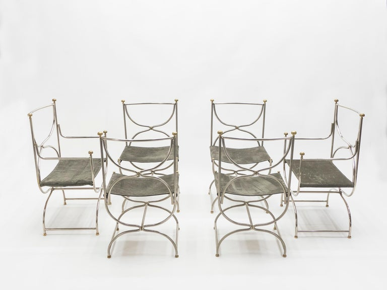 Rare Set of Ten Midcentury Steel Brass Leather Chairs Maison Jansen, 1960s For Sale 7
