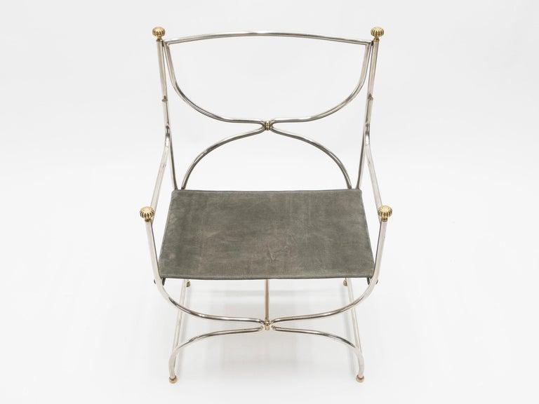 Rare Set of Ten Midcentury Steel Brass Leather Chairs Maison Jansen, 1960s For Sale 9