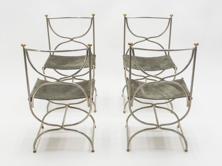 Rare Set of Ten Midcentury Steel Brass Leather Chairs Maison Jansen, 1960s For Sale 10
