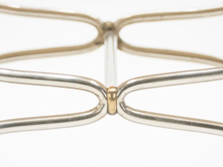 Rare Set of Ten Midcentury Steel Brass Leather Chairs Maison Jansen, 1960s For Sale 11
