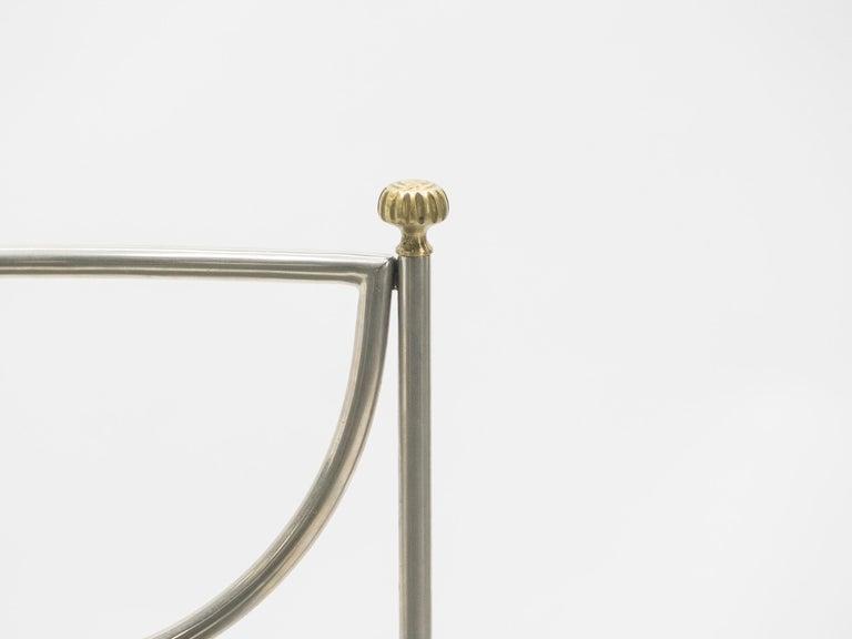 Rare Set of Ten Midcentury Steel Brass Leather Chairs Maison Jansen, 1960s For Sale 13