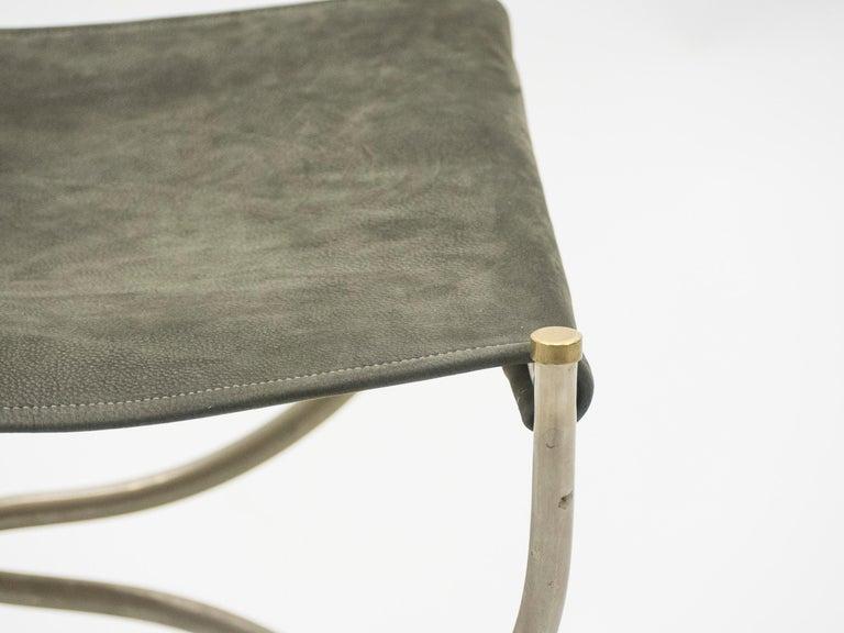 Rare Set of Ten Midcentury Steel Brass Leather Chairs Maison Jansen, 1960s For Sale 14