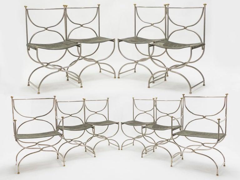 Mid-Century Modern Rare Set of Ten Midcentury Steel Brass Leather Chairs Maison Jansen, 1960s For Sale
