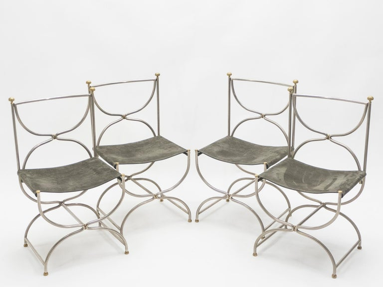Rare Set of Ten Midcentury Steel Brass Leather Chairs Maison Jansen, 1960s In Excellent Condition For Sale In Paris, FR