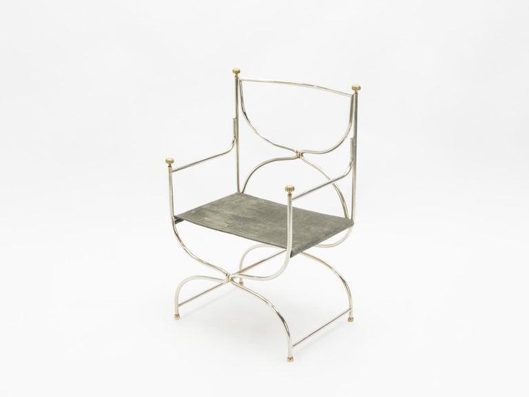 Rare Set of Ten Midcentury Steel Brass Leather Chairs Maison Jansen, 1960s For Sale 1