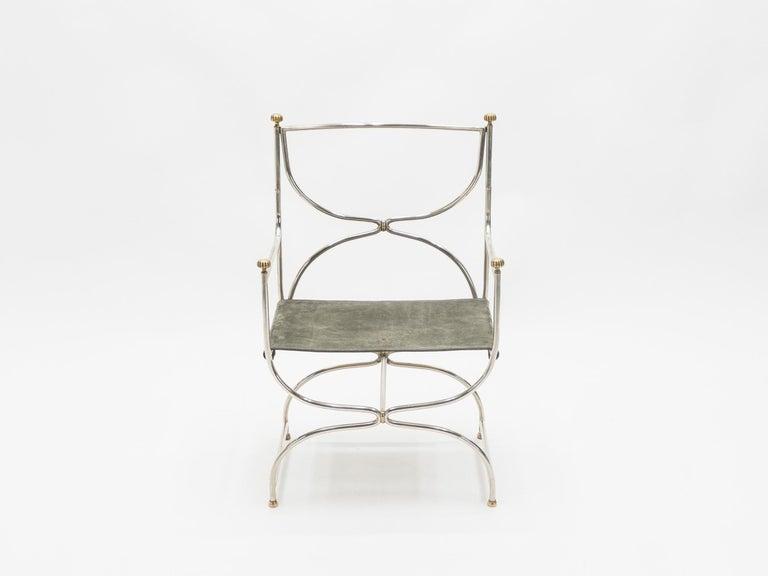 Rare Set of Ten Midcentury Steel Brass Leather Chairs Maison Jansen, 1960s For Sale 2