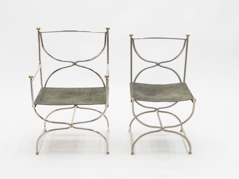Rare Set of Ten Midcentury Steel Brass Leather Chairs Maison Jansen, 1960s For Sale 3