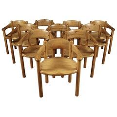 Rare Set of Ten Rainer Daumiller Dining Chairs, Denmark, 1970s