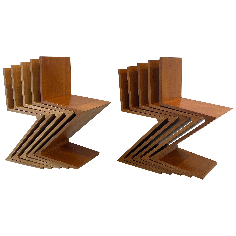 "Rare Set of Ten ""Zig - Zag"" Chairs, Gerrit Rietveld for Cassina, 1973"