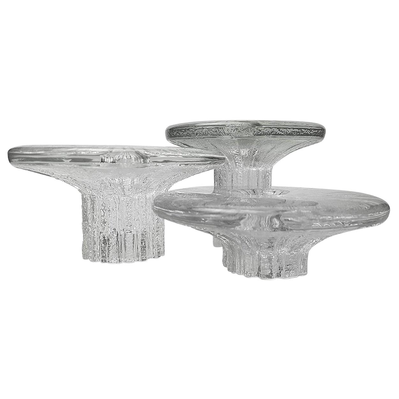 Rare Set of Three Ice Glass Candleholders Timo Scarpaneva for Iittala, 1980s