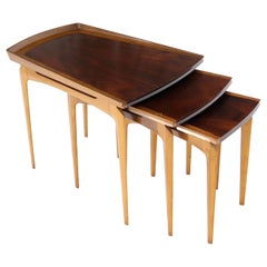 Rare Set of Three Nesting Table in Rosewood & Birch by Erno Fabry