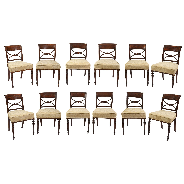 Rare Set of Twelve (12) Inlaid Mahogany Regency Dining Chairs