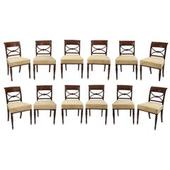 Rare Set of Twelve (12) Inlaid Mahogany Regency Dining Chairs