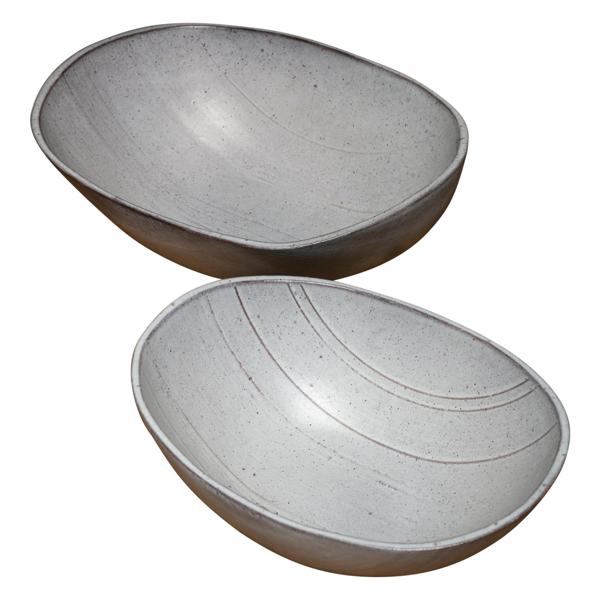 Rare Set of Two Ceramic Bowls by Alessio Tasca
