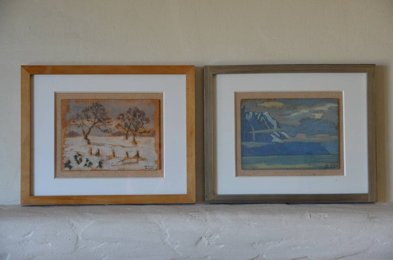 Art Deco Rare Set of Two Framed Oil Paintings by Ivan da Silva Bruhns For Sale
