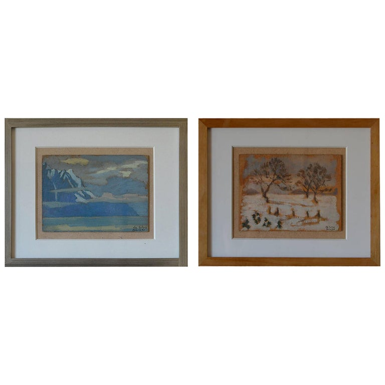 Rare Set of Two Framed Oil Paintings by Ivan da Silva Bruhns For Sale