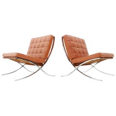 Rare Set of Two Screwed Barcelona Chairs Mies van der Rohe Knoll Int. 1955 -1958