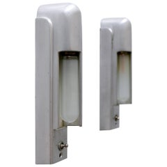 Rare Set of Two Streamline Cruise Ship Cabin Sconces by The Simes Co NY, 1930s