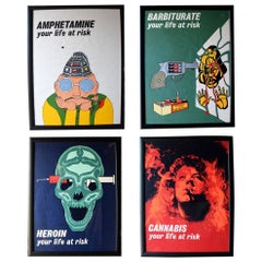 Rare Set of Vintage English Educational Drug Lithograph Posters