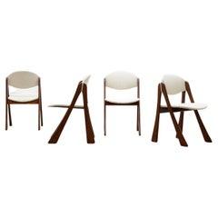 Rare Set Organic Shaped Bouclé Dining Chairs