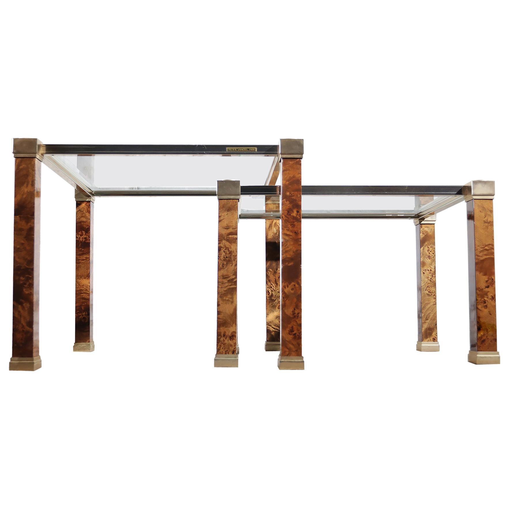 Rare Set of Pierre Vandel Paris Two-Tier Side Tables Mid-Century Modern