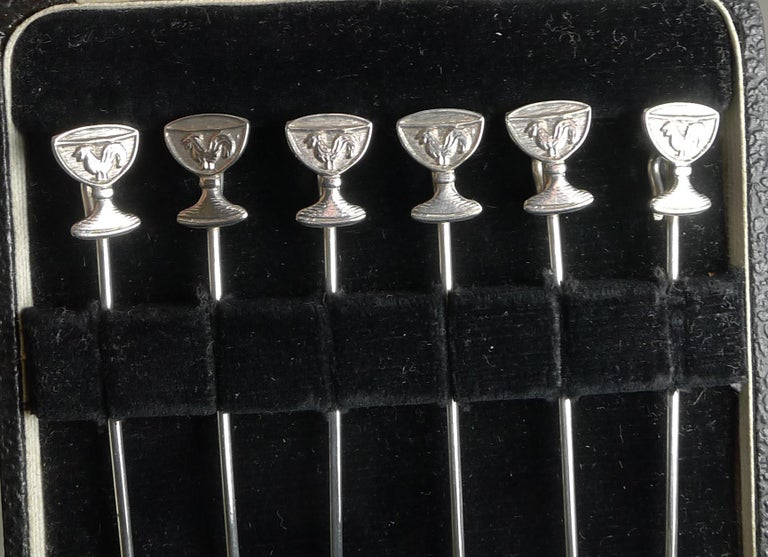Mid-Century Modern Rare Set Six Vintage English Sterling Silver Champagne Glass Cocktail Sticks For Sale
