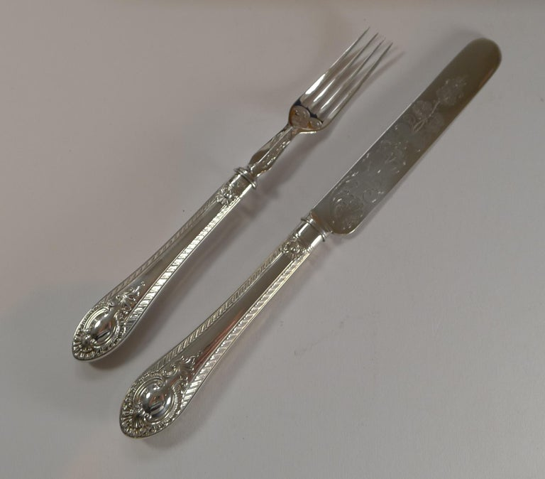 Silver Plate Rare Setting for 18, Fruit / Desert Knives and Forks, c.1860 For Sale