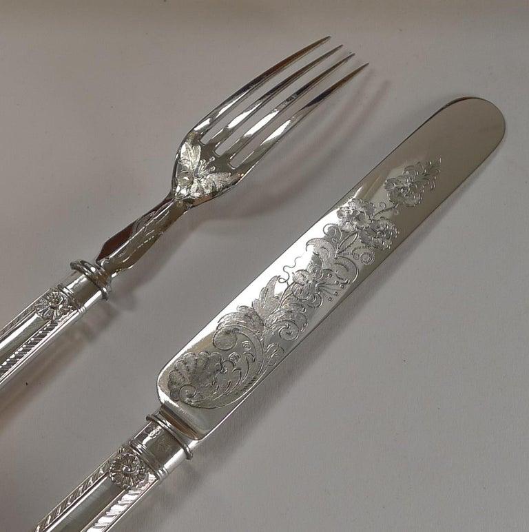 Rare Setting for 18, Fruit / Desert Knives and Forks, c.1860 For Sale 1
