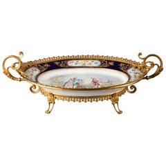 Rare Sevres, Gilded Bronze Dish, Gallant Scene, Chateau des Tuileries circa 1840
