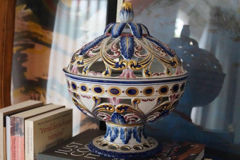 RareSèvres hand-painted Porcelain potpourri bowl, France, 1950s.  Perfect condition. Collectors item.  Measures: Height 26.5cm, diameter 22cm.