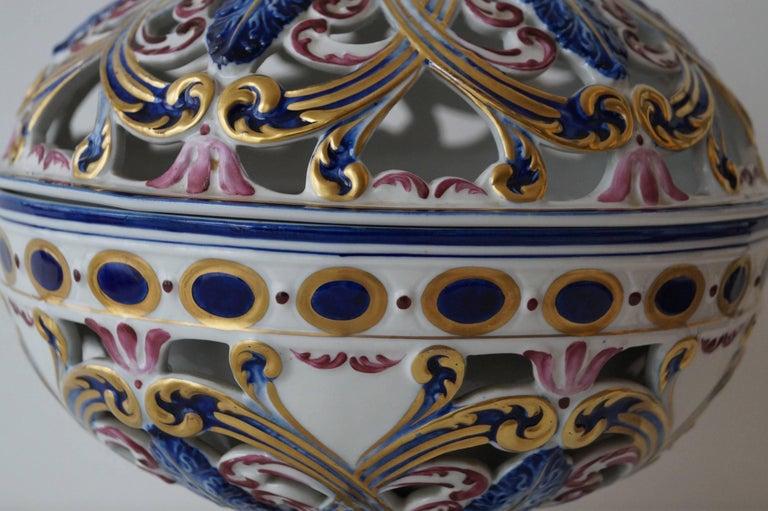 French Rare Sèvres Hand-Painted Porcelain Potpourri Bowl, France, 1950s For Sale