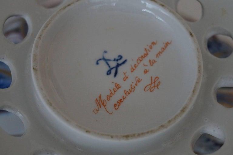 Rare Sèvres Hand-Painted Porcelain Potpourri Bowl, France, 1950s For Sale 3
