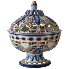Rare Sèvres Hand-Painted Porcelain Potpourri Bowl, France, 1950s