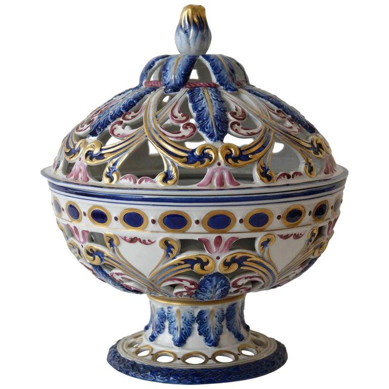 Rare Sèvres Hand-Painted Porcelain Potpourri Bowl, France, 1950s For Sale