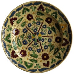 Rare Sgraffito Redware Slip Decorated Pottery Charger Large Plate, 19th Century