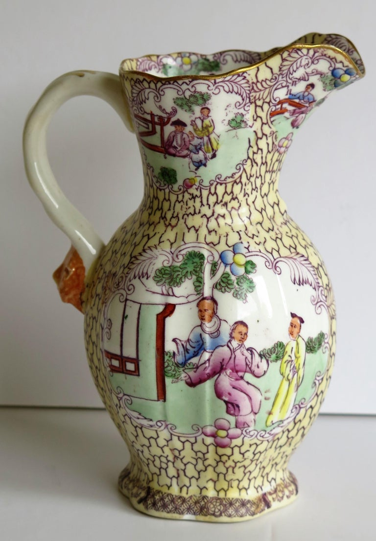 Rare Shape Mason's Ironstone Jug or Pitcher Conversation Ptn, Georgian Ca 1825 In Good Condition For Sale In Lincoln, Lincolnshire