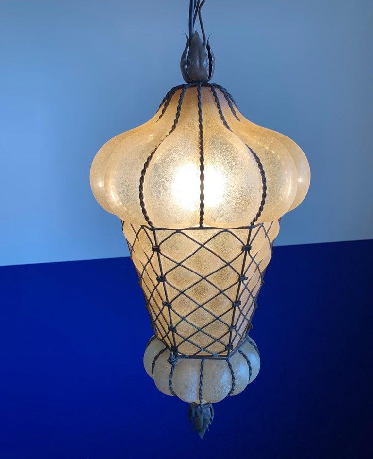 Rare Shape Venetian Murano Pendant Light Mouthblown Amber Glass in Frame For Sale 8