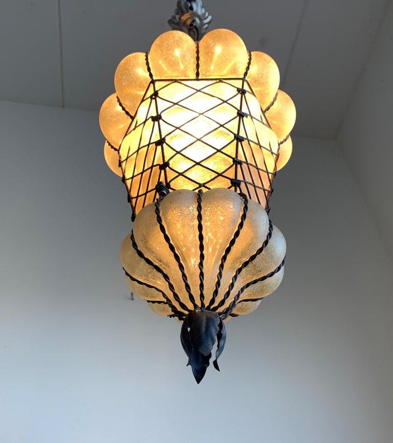 Rare Shape Venetian Murano Pendant Light Mouthblown Amber Glass in Frame For Sale 1