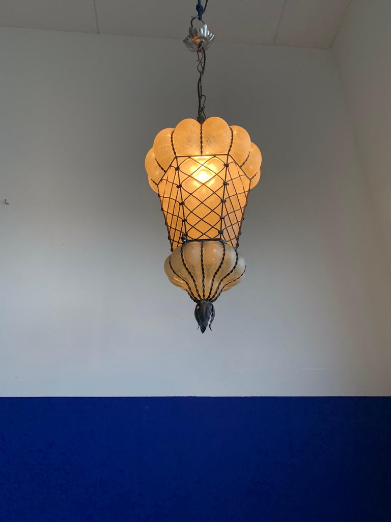 Rare Shape Venetian Murano Pendant Light Mouthblown Amber Glass in Frame For Sale 9