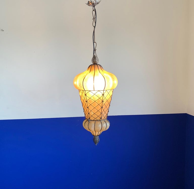 Rare Shape Venetian Murano Pendant Light Mouthblown Amber Glass in Frame For Sale 7