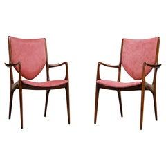 Rare Shield Back Armchairs by Vladimir Kagan for Kagan-Dreyfuss, c. 1959, Signed